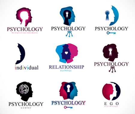 Psychology, brain and mental health vector conceptual icons or logos set.