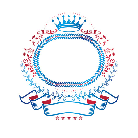 Graphic emblem made with imperial Crown and decorative ribbon. Illustration