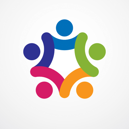 Teamwork businessman unity and cooperation concept created with simple geometric elements as a people crew. Vector icon or logo.
