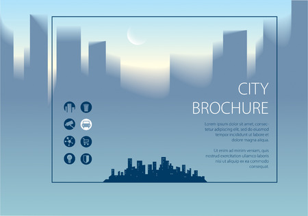 Minimal city traveling tourist information, in horizontal brochure, flyer, cover, poster or guidebook template.