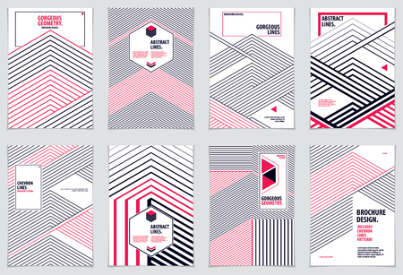 Abstract Modern Vector minimal template. Vector geometric patterns abstract backgrounds set. Design templates for booklets, greeting cards, invitations and advertising. A4 print format. Illustration