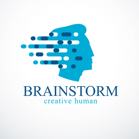 Brainstorm concept, vector design of human head profile with thoughts moving fast.