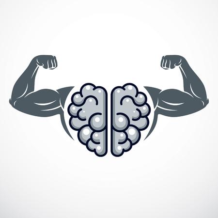 Power Brain emblem, genius concept. Vector design of human anatomical brain with strong bicep hands of bodybuilder. Brain training, grow IQ, mental health. Illustration