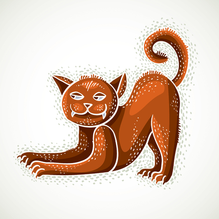 Cute cartoon doodle red cat vector illustration, nice pet standing.