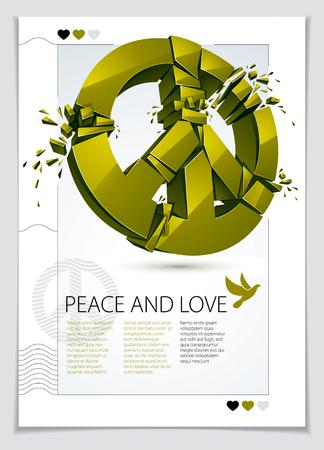 Peace Symbol breaking to pieces vector.