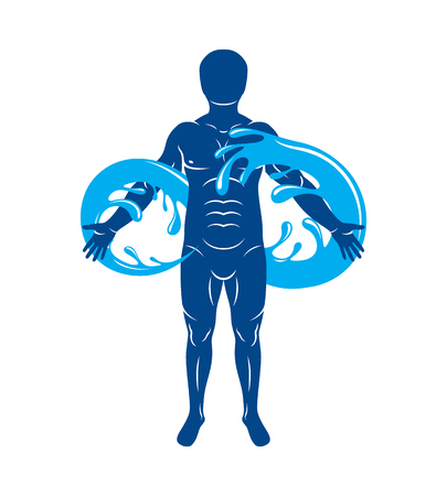 Vector graphic illustration of muscular human, mystic Poseidon composed with limitless symbol created from water wave. Continuous harmony of human and nature. Illustration