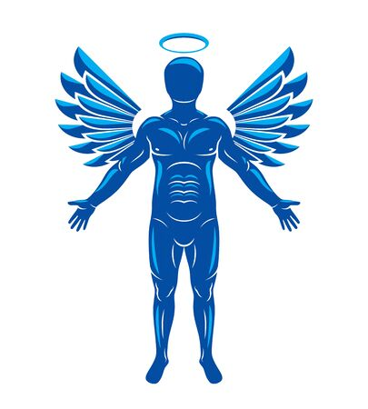 Vector illustration of human, athlete made using angel wings and nimbus. Holy Spirit, cherub metaphor.