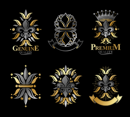 Lily flowers royal symbols, floral and crowns, emblems set. Heraldic Coat of Arms decorative icon. Isolated vector illustrations collection.