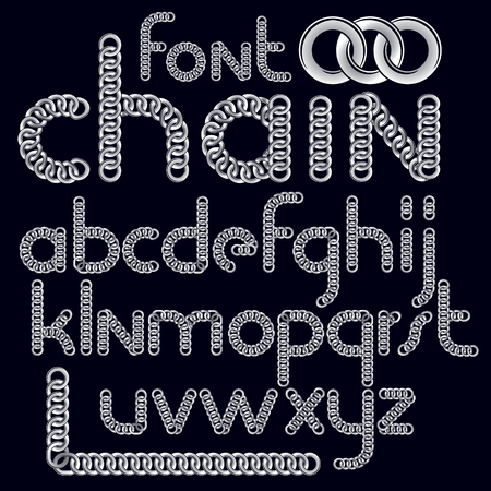 Vector script, modern alphabet letters set. Lower case decorative font created using connected chain link.