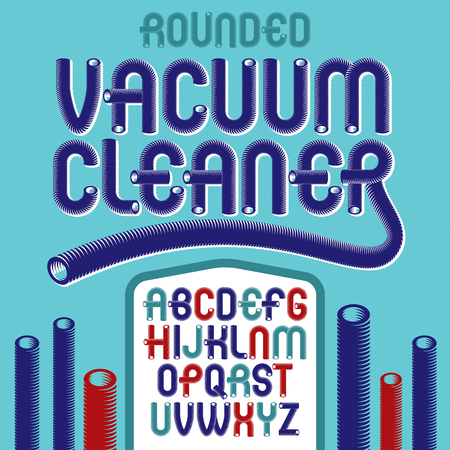 Vector upper case modern alphabet letters set. Trendy rounded font, typescript for use in logo creation. Created using dimensional vacuum pipe style.