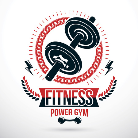 Bodybuilding, weightlifting gym vector emblem sport template. Created using dumbbell sport equipment and lightning, symbol of strength.