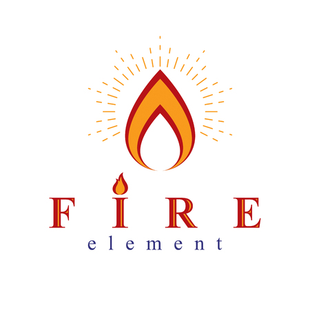 Fire element abstract logo for use as petrol corporate emblem. Oil and gas vector business conceptual symbol. Vettoriali