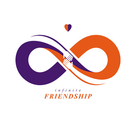 Infinity sign with two hands touching each other. Infinite friendship concept. Forever friends vector creative icon.