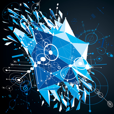 3d vector Bauhaus abstract blue background made with grid and geometric elements, circles and connected lines. Layout for business presentations and posters made with low poly wrecked objects.