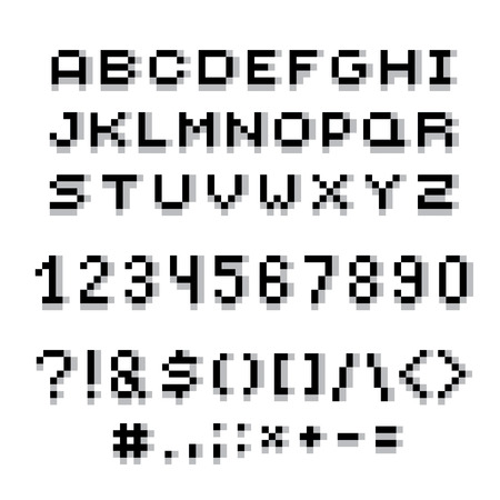 Vector modern numbers, letters and punctuation marks created in technology style. Geometric pixilated digits and font. 3d dotted 8 bit numeration from 0 to 9.