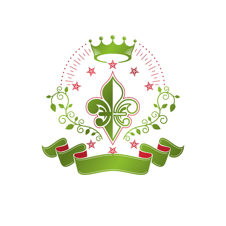 Victorian colorful emblem composed using lily flower and monarch crown. Royal quality award vector design element, business label.