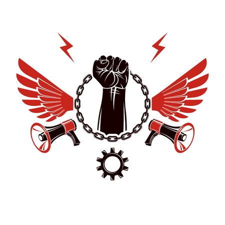 Vector emblem composed with strong raised clenched fist surrounded by iron chain, freedom wings and loudspeakers. Nonconformist conceptual emblem.