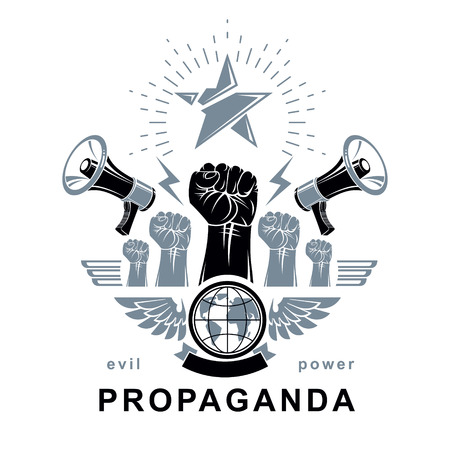 Marketing banner composed with loudspeakers, raised clenched fists and Earth planet, vector illustration. Propaganda as the means of influence on global public opinion. Ilustrace