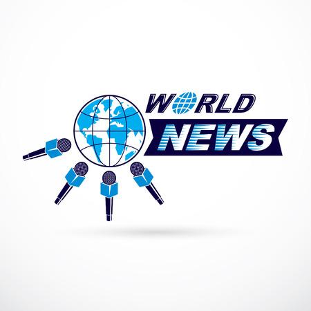 Icône de vecteur de thème de télécommunication sociale créée avec une illustration de la terre bleue entourée de microphones et composée à l'aide de l'inscription aux nouvelles du monde. Concept de conférence de presse.