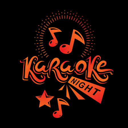 Karaoke night advertising flyer, vector poster composed using musical notes.  イラスト・ベクター素材