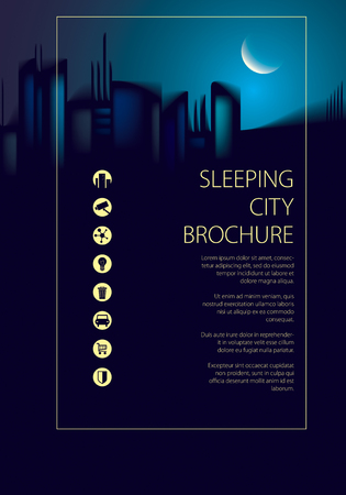 Night city skyline traveling tourist guide book. Brochure, cover, poster or guidebook template. Vector modern illustration.