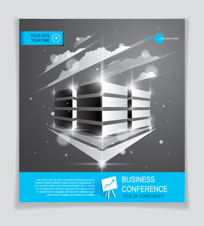 Office building brochure, modern architecture vector with blurred lights and glares effect. Real estate business center blue design. 3D futuristic facade business conference print template.
