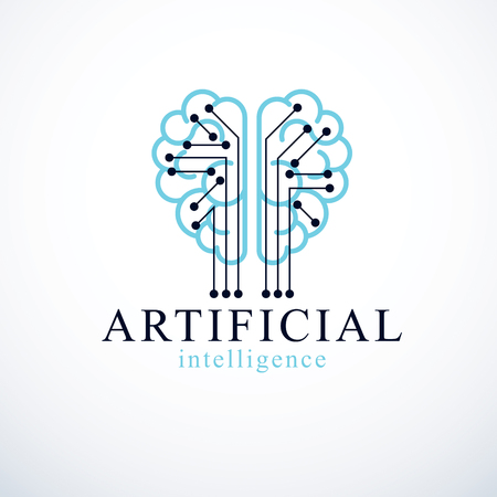Artificial intelligence concept vector logo design. Human anatomical brain with electronics technology elements icon. Smart software, futuristic idea of intelligent machines and computer programs. Illustration