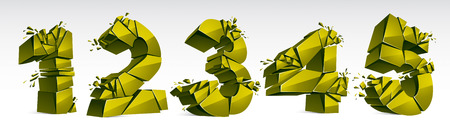 3D realistic green numbers set 1 2 3 4 5 vector illustration, breaking to pieces digits over white symbols collection.