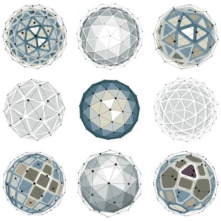 Objets sphériques filaires numériques 3D vectoriels fabriqués à l'aide de différentes facettes géométriques. Orbes polygonales créées avec un maillage de lignes. Collection de formes low poly, formes de treillis pour utilisation dans la conception web.