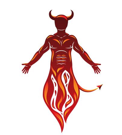 Vector human being standing in flame. Mystic infernal horned Satan, evil spirit.