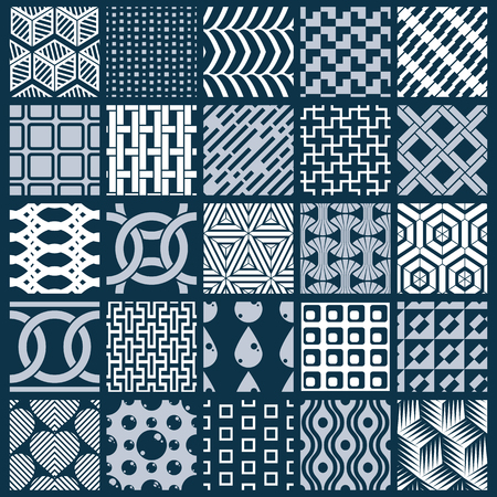 Vector graphic vintage textures created with squares, rhombuses and other geometric shapes. Monochrome seamless patterns collection best for use in textiles design. Vektorové ilustrace