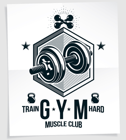Heavy load power lifting championship vector advertising poster. Created with disc weight dumbbell, kettle-bell sport equipment and royal crown. Train hard lettering.