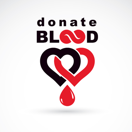 Donate blood inscription. Isolated on white and made using vector red blood drops, heart shape and infinity symbol. Save life conceptual graphic illustration. Medical care symbol.