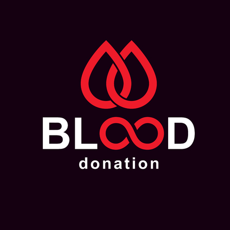 Vector blood donation inscription created with limitless symbol. Save life and donate blood conceptual illustration. Vettoriali