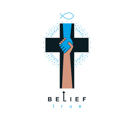 Hand of God shaking the hand of believer, helping and love of Jesus. Christian cross vector symbol, Christianity God religion icon. Stock fotó - 95813996
