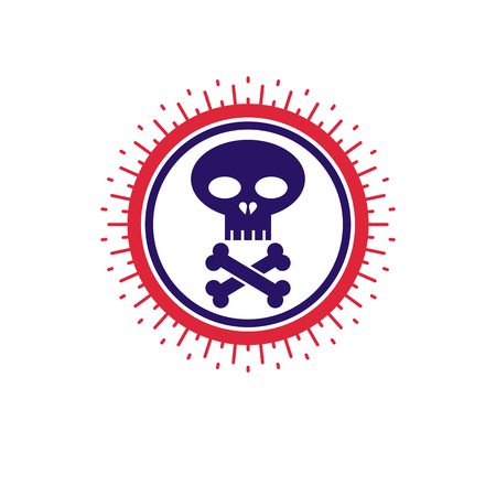 Skull and bones vector icon, isolated on white background. Warning sign, beware.