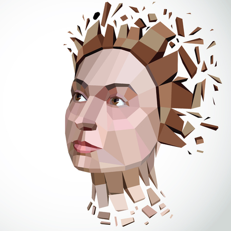 3d vector illustration of human head created in low poly style. Face of pensive female, smart personality. Intelligence allegory, artistic deformed object broken into splinters and fragments.  Illustration