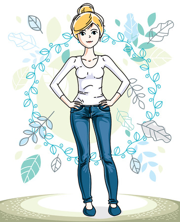 Happy young blonde woman posing on background of spring landscape and wearing fashionable casual clothes. Vector attractive female illustration. Springtime fashion and lifestyle theme cartoon.