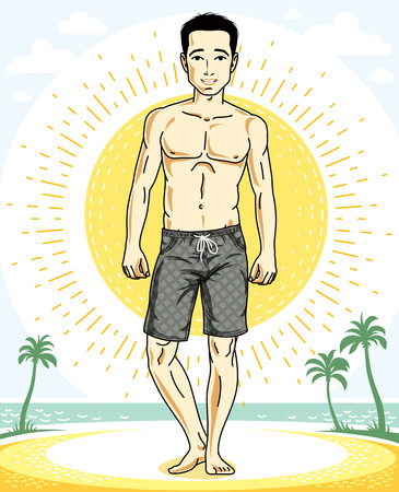 Handsome brunet young man standing on tropical beach. Vector athletic male illustration. Summer vacation lifestyle theme cartoon.