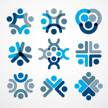 Teamwork and friendship concepts created with simple geometric elements as a people crew. Vector icons set. Unity and collaboration ideas, dream team of business people blue designs. Illustration