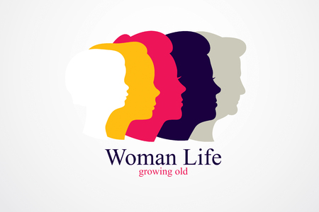 Woman life age years concept. The time of life, periods and cycle of life, growing old, maturation and aging, one generation and age categories. Vector simple classic icon design.