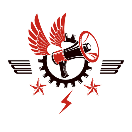 Decorative vector emblem composed with winged loudspeaker and gear symbol. Social revolution concept, working class protest.
