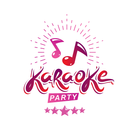 Karaoke party vector writing composed with musical notes and star, leisure and relaxation lifestyle emblem for nightclub party invitation poster. Illustration