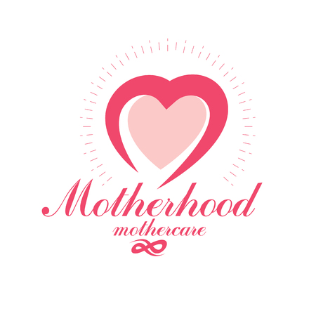 Vector heart emblem isolated on white. Motherhood concept and new life beginning drawing. Obstetrics and gynecology clinic symbol