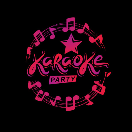 Musical karaoke performance poster composed using circular decorative musical sheet with notes, karaoke party inscription. Musical festival concept.