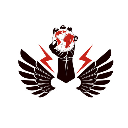 Winged vector emblem composed with raised clenched fist composed with Earth illustration.