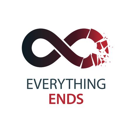 Crashed Infinity Loop vector symbol, conceptual logo special design. Ilustração
