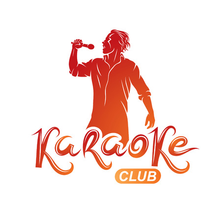 Man sings karaoke, karaoke club emcee show advertising vector emblem composed with microphone audio equipment and musical notes.
