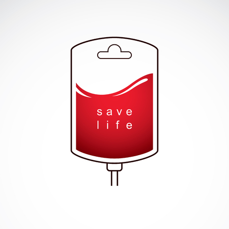 Vector illustration of blood bag prepared for blood donation. Charity and volunteer conceptual logo.