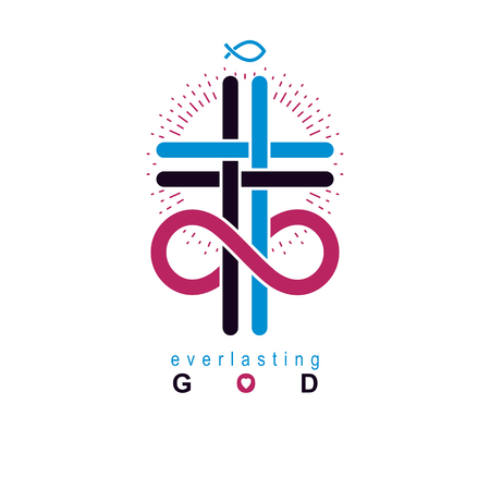 True Infinite Christian Belief in God, vector creative symbol design, combined with infinity eternal loop and Christian Cross, vector logo or sign. Illustration